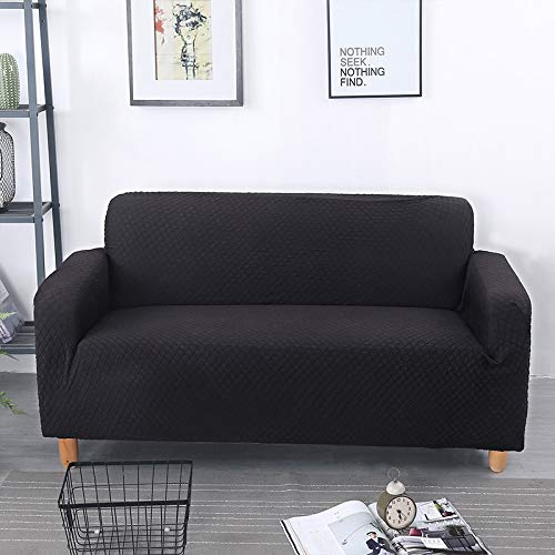 OKJK Elastische Sofabezug, Stretch Universal Modern Jacquard Sofaüberwurf, Wohnzimmer Sofa Protector Home Decor (Black,2 Seater)