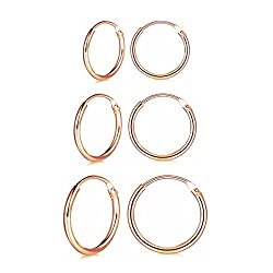【Simple Small Hoop Earrings Set】3 Pairs premium quality hypoallergenic cartilage earrings, 10mm/12mm/14mm diameter, multi-size meet your daily needs. 【Material】wynn's silver hoop earrings are made of S925 sterling silver and rose gold plated, best ch...