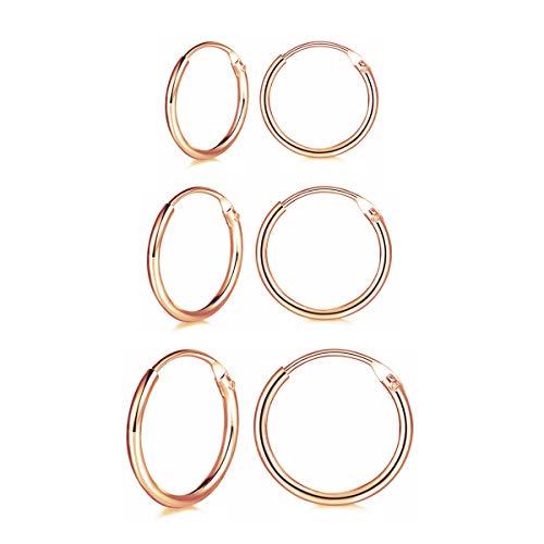 wynn's 3 Pairs 925 Sterling Silver Cartilage Small Endless Hoop Earrings Set Rose Gold Hypoallergenic Unisex Huggie Silver Hoop Sleeper Earrings Nose Lip Rings for Women Men Girls, 10mm 12mm 14mm