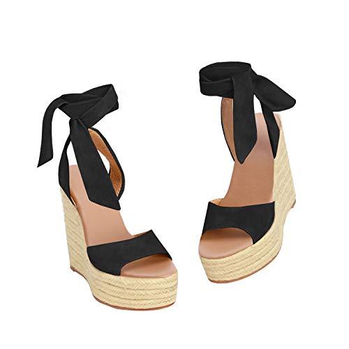 Syktkmx Womens Lace Up Platform Wedge Espadrille Heel Peep Toe Slingback D'Orsay Sandals (9 B(M) US, a-Black)