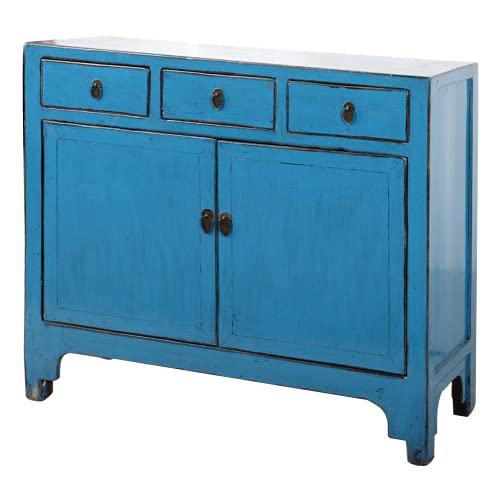 Fine Asianliving Aparador chino antiguo azul brillante W111xD39xH96cm Cómoda de cajones inspirado en Ming Muebles chinos orientales de madera pintada a mano asiática 0x0x0cm