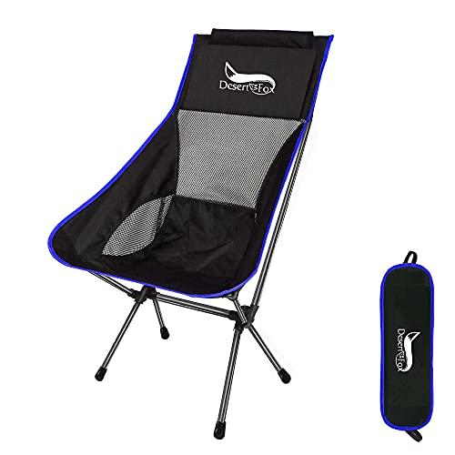 アウトドアチェア 折りたたみ 超軽量【 選べる8色】【ハイバック】【耐荷重150kg】コンパクト イス 椅子 収納袋付属 お釣り 登山 携帯便利 キャンプ椅子 0016 (blue/black/ハイバック)