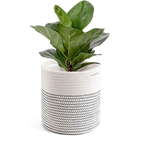Cotton Rope Plant Basket Modern Indoor Planter Up to 11 Inch Flower Pot Woven Storage Organizer with Handles Home Decor - Foldable (Size : 20 * 20cm)