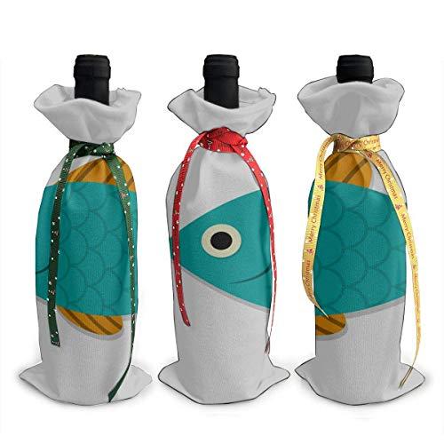 Flaschenabdeckungen Lebhafter Kawaii Fisch Kostenloses Schwimmen 3 Stück Chirtmas Weinflasche Geschenkabdeckung
