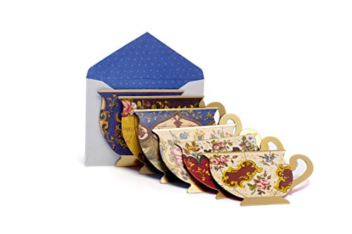The Metropolitan Museum of Art French Teacups Collection Note Cards Greeting Cards Bulk Box Set -18 die-cut note cards 5 1⁄4' x 3 9/16' by M&G COLLECTION