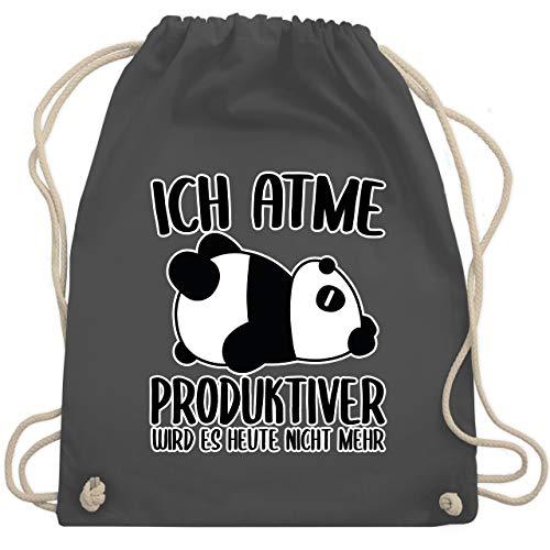 Shirtracer Sprüche - Ich atme produktiver wird es nicht mehr mit Panda - weiß - Unisize - Dunkelgrau - turnbeutel mit spruch panda - WM110 - Turnbeutel und Stoffbeutel aus Baumwolle