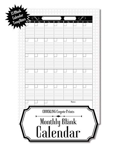 Compare Textbook Prices for Monthly Blank Calendar: 8.5x11 Undated Calendar Fillable Templates for Office, School or Home, Sun-Sat, Pages For Notes And To-Do Agenda  ISBN 9781953987105 by Chuckling Coyote Prints
