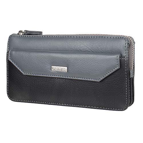 STARHIDE Bolso de piel suave con bloqueo RFID para mujer 5615 (negro/gris)