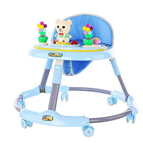 QqHAO New Baby Walker Musique Pliant bébé 6-18 Mois Voiture Enfant Anti-Rollover Multi-Function Walker Trotteur Can Sit