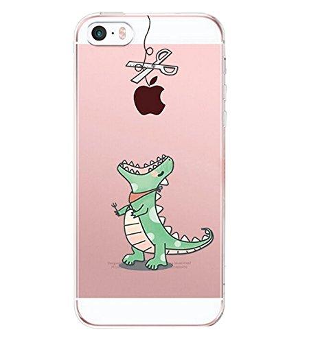 Carcasa iphone SE 5 5s, Qissy® TPU Funda Cubierta de ultra delgado impresión de Silicona Carcasa Trasera Para iphone 5 5s Transparente (S)