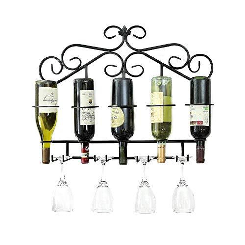 Pkfinrd Estante de vino montado en la pared, decoración para el hogar y la cocina, estante de almacenamiento de hierro forjado resistente, diseño de fácil instalación | soporte para botellas
