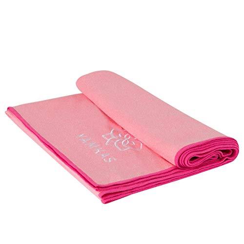 Yamkas Toalla Yoga Antideslizante • Microfibra • 183 x 61 cm • Absorvente del Sudor • Secado rápido • Compacta Towel para Esterilla Deporte • Rosa
