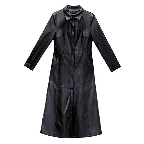 AAADRESSES Damen Trenchcoat Schwarz Lang Leder Große Größen Herbst Kurzmantel Overknee-Jacke,Schwarz,XXXL