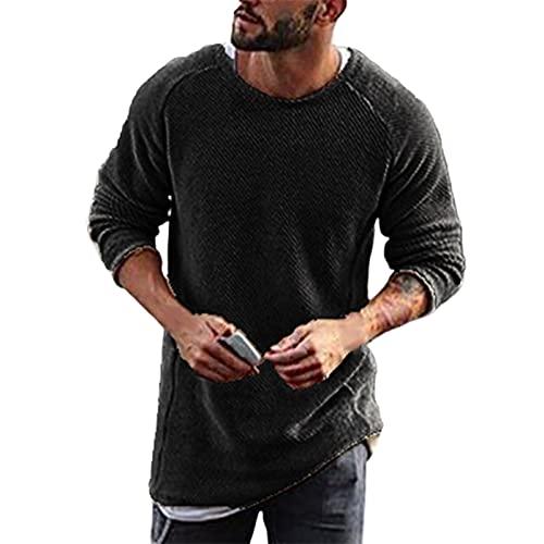 Pull d'hiver en tricot pour homme Marron 2XL