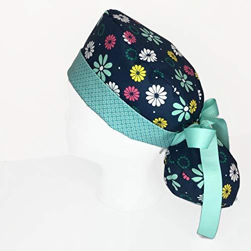 Ponytail Scrub Cap Flower Power Scrub Hat Scrub Caps for Women, OR Hats