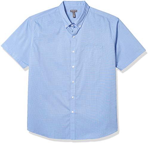Van Heusen Men's Flex Short Sleeve Button Down Check Shirt, Crisp Blue, Small
