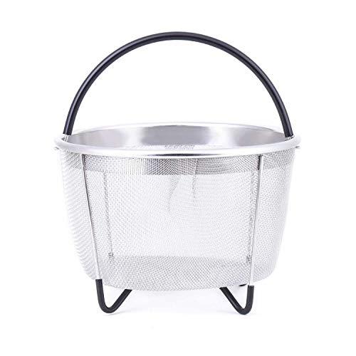 Panier Vapeur en 304 Acier Inoxydable pour Instant Pot 8qt 6qt Panier Cuisson Accessoires d'autocuiseur Cuire Viande de Légumes Aux œufs de Poignée en Silicone Sécurité du Lave-Vaisselle