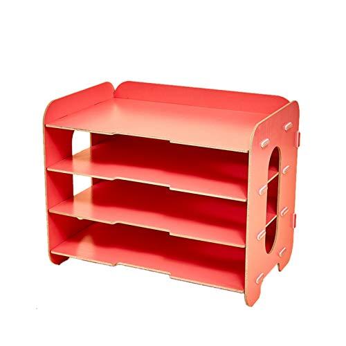 cicilin organizador escritorio madera Set de almacenamiento DIY libro 3 compartimentos de almacenamiento cestas con correo cajas de almacenamiento de carpetas organizador multifunción, color rojo