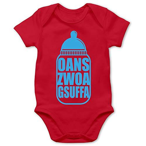 Shirtracer Oktoberfest & Wiesn Baby - Babyflasche Oans Zwoa Gsuffa blau - 6/12 Monate - Rot - Oans Zwoa gsuffa - BZ10 - Baby Body Kurzarm für Jungen und Mädchen