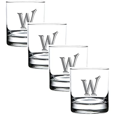 (W-Monogram)- 4 Piece Set of 11 Ounce Engraved Heavy Base Rocks Glasses Elegant Glass-Multi-Purpose Beverage-Rocks Glass- Perfect Gift for any Occasion- By: On The Rox
