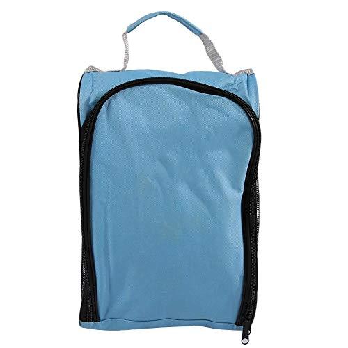 Qiter Metall-Reißverschluss-Nylon-Golfschuhbeutel, verschleißfeste seitliche Mesh-Golfschuhtasche, 33 cm Schwarz/Blau für das Golftraining(Sky Blue)