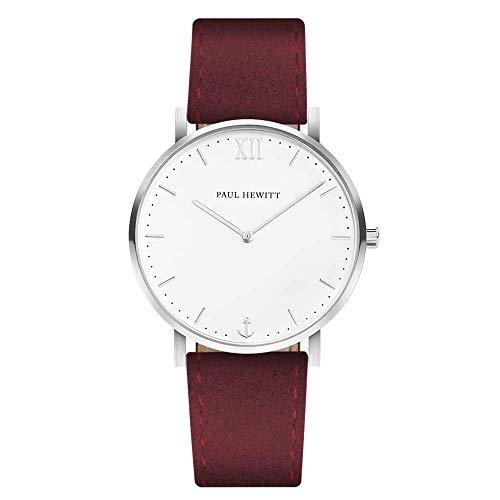 PAUL HEWITT Reloj de Mujer Sailor White Sand - Reloj de Mujer de Acero Inoxidable (Plata), Reloj de Pulsera para Mujer con Esfera Blanca y Correa de Cuero en Rojo Oscuro