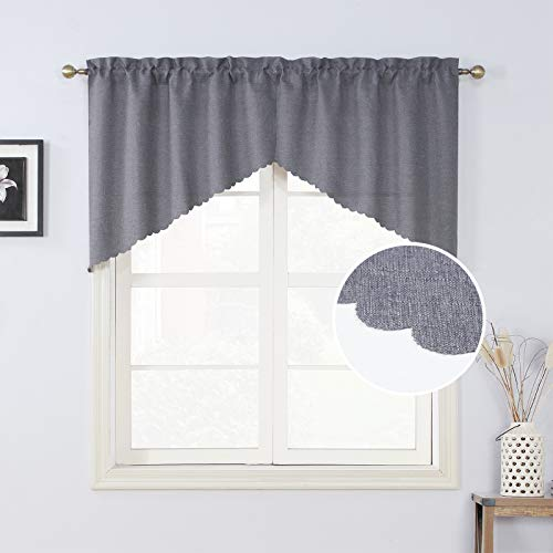 Rama Rose Grey Burlap Look Swag Curtains Rustic Soft Rod Pocket Kitchen Valance Curtain Panels for Small Window 36 Inch Length, 2 Panels