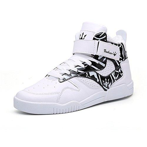 FZUU Herren Fashion High Top Leder Street Sneakers Sport Casual Schuhe, (weiß / schwarz), 41 EU