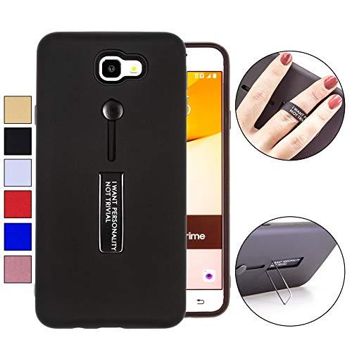 COOVY® Cover für Samsung Galaxy J7 Prime SM-G610Y /Duos SM-G610F / DS / On7 Bumper Case, Doppelschicht aus Plastik + TPU-Silikon mit Halteschlaufe, Standfunktion | Farbe schwarz