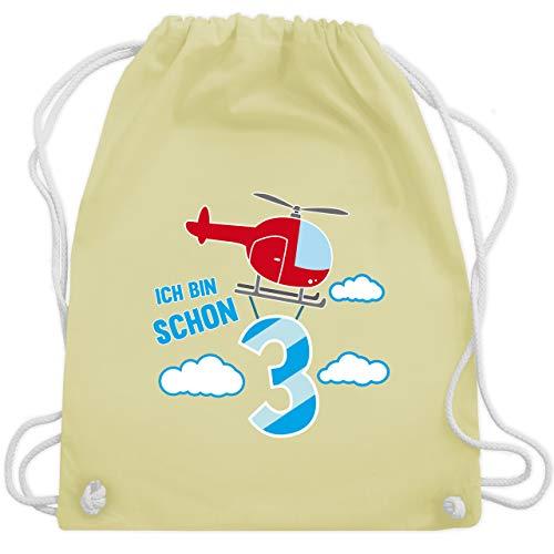 Shirtracer Geburtstag Kind - Ich bin schon 3 Hubschrauber - Unisize - Pastell Gelb - turnbeutel hubschrauber - WM110 - Turnbeutel und Stoffbeutel aus Baumwolle