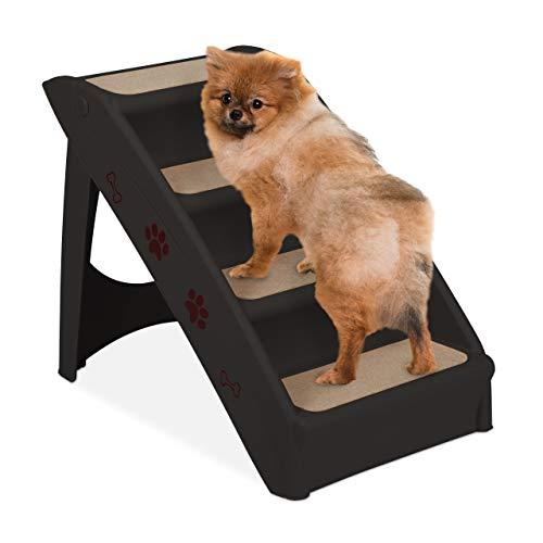 Relaxdays Hundetreppe 4 Stufen, kleine & große Hunde, Bett & Couch, Auto, Tiertreppe bis 100 kg, 49x39x61 cm, schwarz