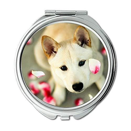 Yanteng Spiegel, Schminkspiegel, Dog Lovers Hunde für Handy, Taschenspiegel, 1 X 2X Lupe