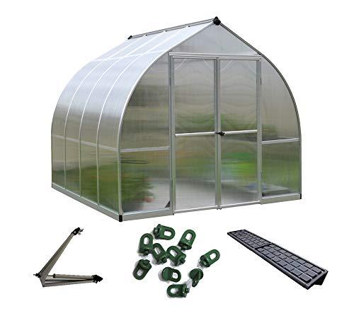 Palram Aluminium Gewächshaus, Gartenhaus Bella 8x8 Silber // 244x244x217 cm (LxBxH) // Treibhaus & Tomatenhaus zur Aufzucht Komplettset Inkl. Zubehör