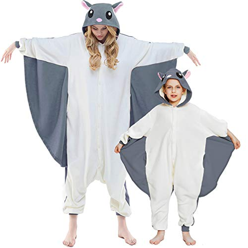 NEWCOSPLAY Unisex Adult Flying Squirrel Pajamas- Plush One Piece Costume (S, Grey Flying Squirrel)