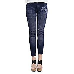 CAMEY Womens Denim Jeggings (Blue_Free Size)
