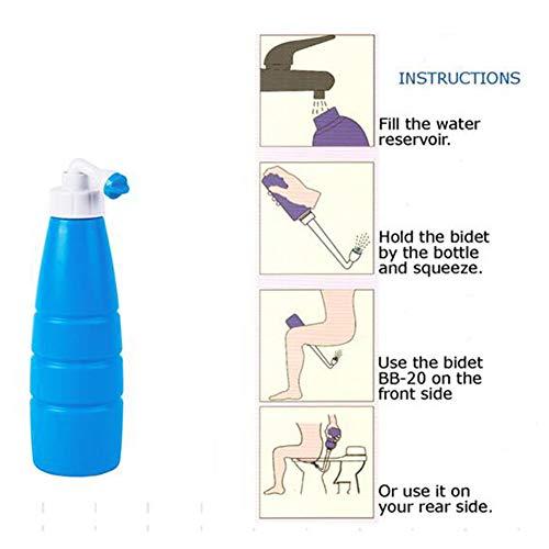 Draagbaar handheld bidet voor persoonlijke hygiëne Zorg Reisbidet 400 ml Capaciteit Spitse sproeikop, verstelbare lange nek douchekop