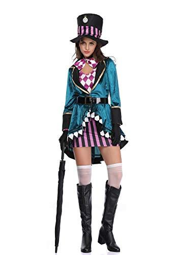 thematys Alice im Wunderland Hutmacher Kostüm Damen - Kostüm-Set perfekt für Fasching, Karneval & Cosplay - 3 Verschiedene Größen (XL)