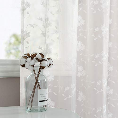 White Sheer Curtains for Living Room Floral Embroidery 63 inch Long Rustic Voile Window Curtain Drpaes for Bedroom Rod Pocket 2 Panels