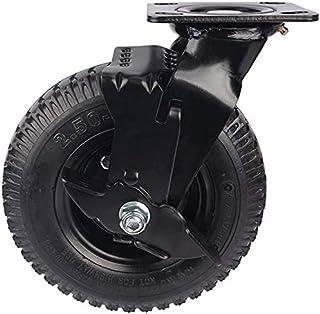 QJFJD 8-inch pneumatische rubberen zwenkwiel, grote banden, zware zwenkwiel, standaardplaat, draaibaar