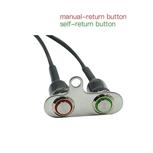 BGTR Moto Accessori Moto 12V LED Interruttore manubrio regolabile Montare i sensori impermeabili ON-OFF Pulsante faro (rosso e verde)