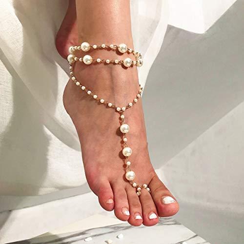 XKMY Tobillera para mujer, estilo vintage, con cuentas de perlas, tobilleras, para mujer, tobillera multicapa 2021, pulsera bohemia, sandalias descalzadas, joyería de playa nupcial