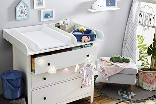 Rotho Babydesign Matelas à Langer à Langer à 2 Rebords, Modern Square, À partir de 0 mois, 70x50x9,8cm, Blanc, 204440001CH