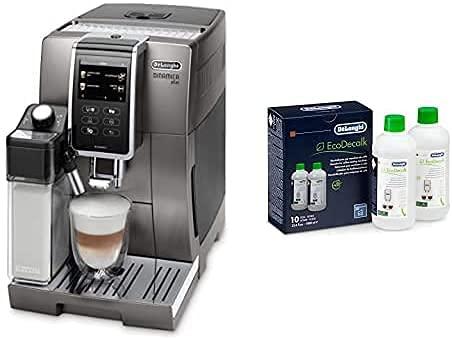 De'Longhi Dinamica Plus ECAM 370.95.T Kaffeevollautomat mit Milchsystem, titan + EcoDecalk DLSC502 - Entkalker für Kaffeemaschinen & Kaffeevollautomaten, 2x500ml