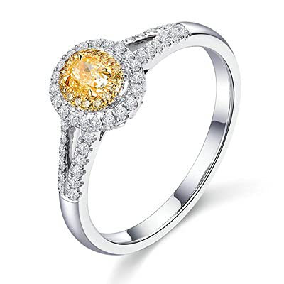Bishilin Anillos de Boda Oro Blanco 750, 0.25ct Oval Cut Light Amarillo Diamante Anillo de Compromiso Anillo de Aniversario Ajuste Cómodo Aniversario Cumpleaños