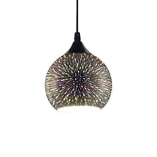 RUIBO LED Modern Pendant Light 3D Fireworks Colorful Plated Glass Ball Decorated Bar Dining Kitchen Lamp Hanging Light Fixture 90-260V E27 Bulb Not Included