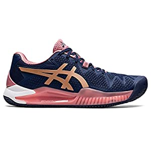 ASICS Women's Gel-Resolution 8 Clay Tennis Shoes, 7, Peacoat/Rose Gold