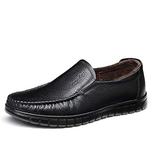 CAIFENG Mocasines para hombre, zapatos planos informales de forro polar en el interior de cuero auténtico, puntera redonda, antideslizantes, ligeros, costuras en la suela (color: negro, talla: 38 EU)