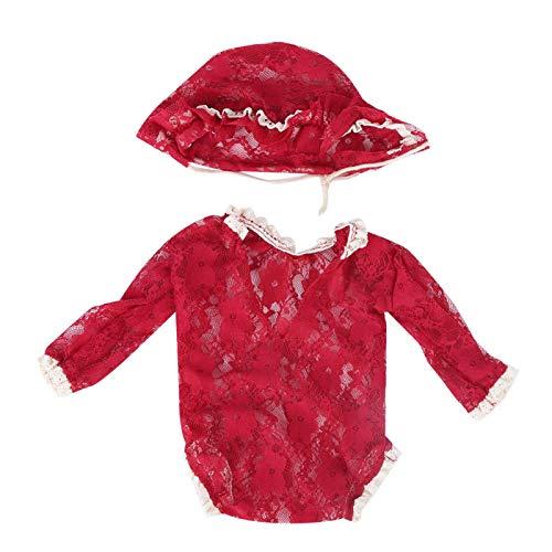 Disfraz infantil de material de encaje y tocado de encaje para beb de 0 a 2 meses(Red wine)
