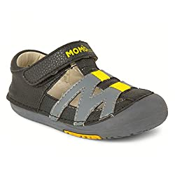 top 10 momo baby sandals Momo Baby Boys First Walker Toddler Mason Leather Sandals – 8 Black / Gray