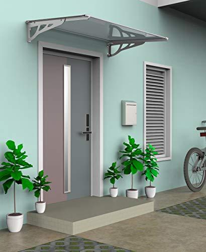 SCHARTEC Aluminium-Vordach als Haustürvordach in 120 oder 150 cm - versch. Farben - Vordach für Haustür Überdachung (1200 x 900 mm, silber)